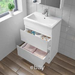 600mm Bathroom Vanity Unit Basin Storage 2 Drawer Cabinet Furniture White Gloss