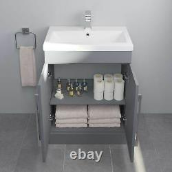 600mm Bathroom Vanity Unit Basin Storage Cabinet Furniture Grey Gloss Modern