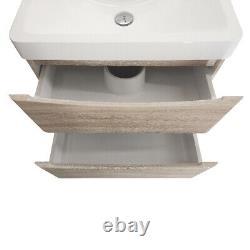 600mm Bathroom Vanity Unit Basin Storage Furniture Wall Hung Cabinet Light Oak