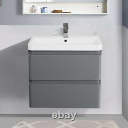 600mm Bathroom Vanity Unit Basin Storage Wall Hung Cabinet Furniture Gloss Grey