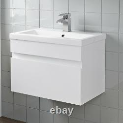 600mm Bathroom Vanity Unit Basin Storage Wall Hung Cabinet Furniture White Gloss