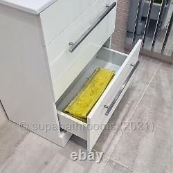 600mm Bathroom Vanity Unit & Basin Turin Soft Close Double Drawer Cabinet