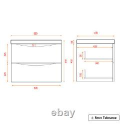 600mm Bathroom Vanity Unit Wall Hung Basin Sink Cabinet Furniture Gloss Grey