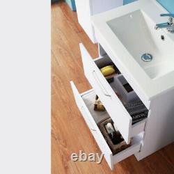 600mm Bathroom Vanity Unit with Basin 2 Drawers White Furnitur Floor Standing