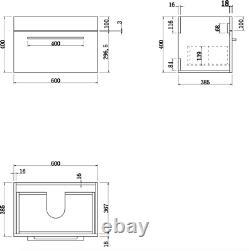 600mm Bathroom Wall Hung Vanity Unit Basin Storage Cabinet Furniture Gloss White