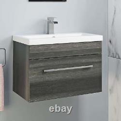 600mm Bathroom Wall Hung Vanity Unit Basin Storage Cabinet Furniture Grey Modern