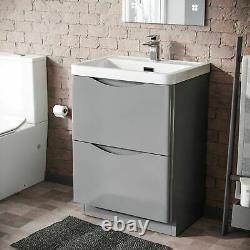600mm Freestanding Bathroom Light Grey Gloss Vanity Unit Resin Basin Lyndon