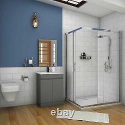 600mm Freestanding Bathroom Sink Grey Vanity Units with Basin Cabinet Cupboards