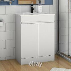 600mm Freestanding Bathroom Sink White Vanity Units with Basin Cabinet Cupboards