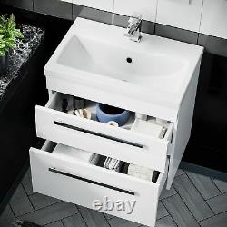 600mm Gloss White 2 Drawer Wall Hung Basin Vanity Cabinet with Ceramic Sink Unit