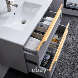 600mm Grey Bathroom Vanity Unit Wall Hung Cabinet Two Drawers With Ceramic Sink