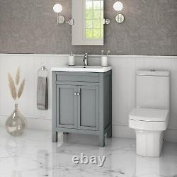 600mm Grey Freestanding Vanity Unit with Basin Avebury