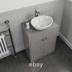 600mm Grey Traditional Vanity Unit Countertop Bathroom Furniture Oval Basin Sink