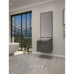 600mm Grey Wall Hung Countertop Vanity Unit with Basin and Mirror Nerja