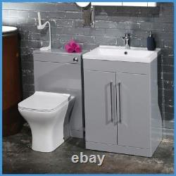 600mm Modern Gloss Grey Vanity Unit & WC Unit Bathroom Cabinet Basin BTW Toilet