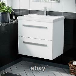 610 mm 2 Drawer Wall Hung Basin Vanity Cabinet White Bathroom Ceramic Sink Unit