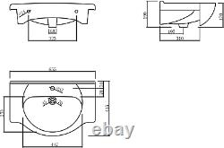 650mm Bathroom Basin Sink Vanity Unit Floor Standing Single Tap Hole Matte White