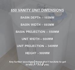 650mm White High Gloss Vanity Unit Ceramic Basin Soft Close (650V)