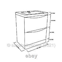 700mm Bathroom Vanity Basin Unit Storage 2 Drawer White Gloss Cabinet Furniture