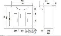 750mm Bathroom Vanity Unit & Basin Sink Tap + Waste Gloss White Floorstanding