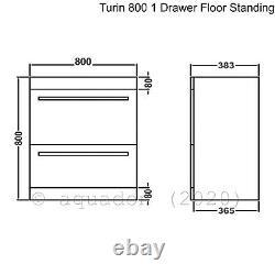 800mm 2 Drawer Vanity Unit Basin Sink and Toilet Bathroom Furniture Suite Turin