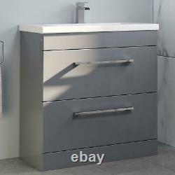 800mm Bathroom Vanity Unit Basin Drawer Storage Cabinet Furniture Grey Gloss