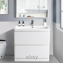800mm Bathroom Vanity Unit Basin Sink Cabinet 2 Drawer Furniture Gloss White