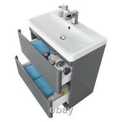 800mm Bathroom Vanity Unit Basin Sink Cabinet Floor Standing Furniture Gloss
