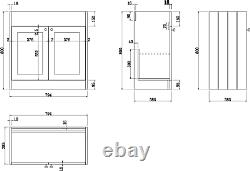 800mm Bathroom Vanity Unit Basin Sink Storage Cabinet Furniture Grey Traditional