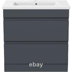 800mm Bathroom Vanity Unit Basin Storage 2 Drawer Cabinet Furniture Grey Gloss
