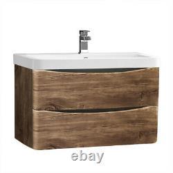 800mm Bathroom Vanity Unit Basin Storage 2 Drawer Cabinet Furniture Grey Oak
