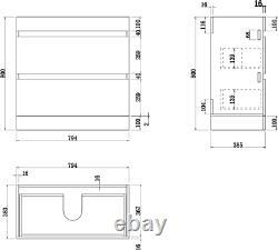 800mm Bathroom Vanity Unit Basin Storage Drawer Cabinet Furniture Charcoal Grey
