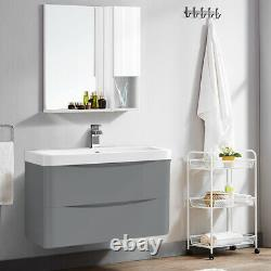 800mm Bathroom Vanity Unit Basin Storage Wall Hung Cabinet Furniture Gloss Grey