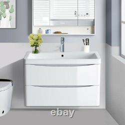 800mm Bathroom Vanity Unit Basin Storage Wall Hung Cabinet Furniture Gloss White