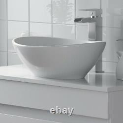 800mm Bathroom Vanity Unit Countertop Wash Basin Sink Oval Floor Standing White