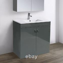 800mm Bathroom Vanity Unit Floor Standing Basin Sink Storage Cabinet Gloss Grey