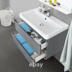 800mm Bathroom Vanity Unit Resin Basin Sink Storage Wall Hung Cabinet Gloss Grey