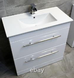 800mm Savu White Gloss Square Vanity Unit + Ceramic Basin Sink Drawer Unit