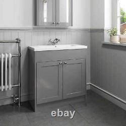 800mm Traditional Bathroom Vanity Unit Grey Basin Sink Storage Cabinet Furniture