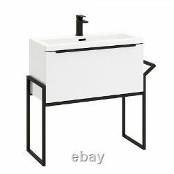800mm Wall Hung Bathroom Vanity Unit & Basin Gloss White Matt Black Frame