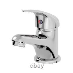 850mm Bathroom Vanity Unit & Basin Sink Floorstanding Gloss White Tap + Waste