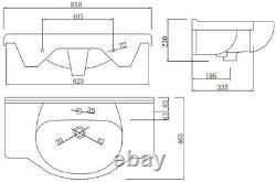 850mm Floorstanding Bathroom Vanity Unit & Basin Single Tap Hole White Gloss