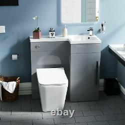 900 Cloakroom RH Light Grey Vanity Unit Basin Sink with Rimless Toilet Elora