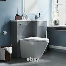 900 Grey Right Hand WC Basin Vanity Sink and Toilet Unit Bathroom Suite Ellen