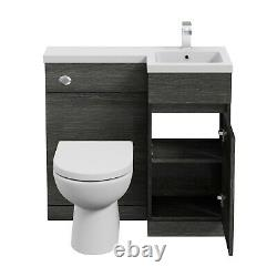 900mm Bathroom Vanity Unit Basin Toilet Combined Furniture Right Hand Charcoal
