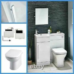 900mm L Shape White Bathroom Furniture Suite Basin Toilet BTW Vanity WC Unit