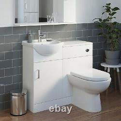 950mm Toilet and Bathroom Vanity Unit Combined Basin Sink Furniture Gloss White