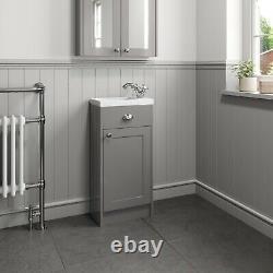 950mm Traditional Toilet Bathroom Vanity Unit Combined Basin Sink Furniture Grey