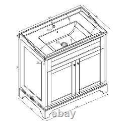 Arabella Traditional Vintage Grey Vanity Storage Unit with Ceramic Sink 80cm