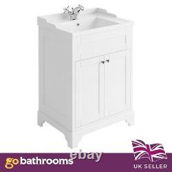 Arabella Traditional Vintage White Vanity Storage Unit with Ceramic Sink 60cm